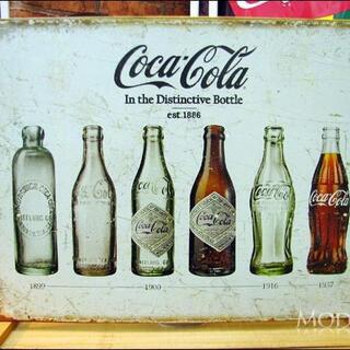 アメリカンブリキ看板 コカ・コーラ ボトルの進化(パネル)