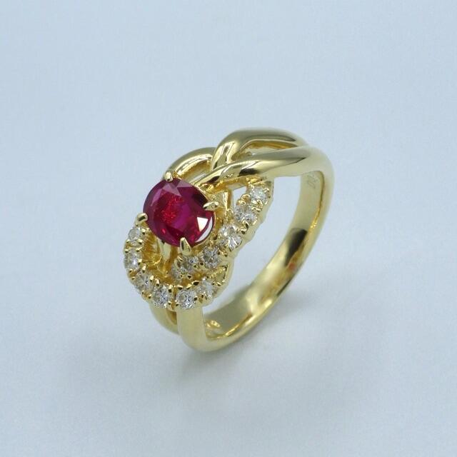 ルビー ダイヤモンド K18 イエローゴールド リング  レディースのアクセサリー(リング(指輪))の商品写真
