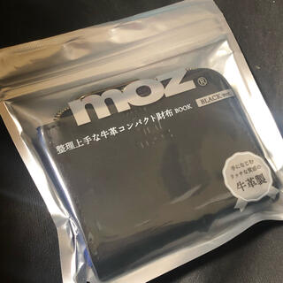 moz 牛革コンパクト財布 book ブラック