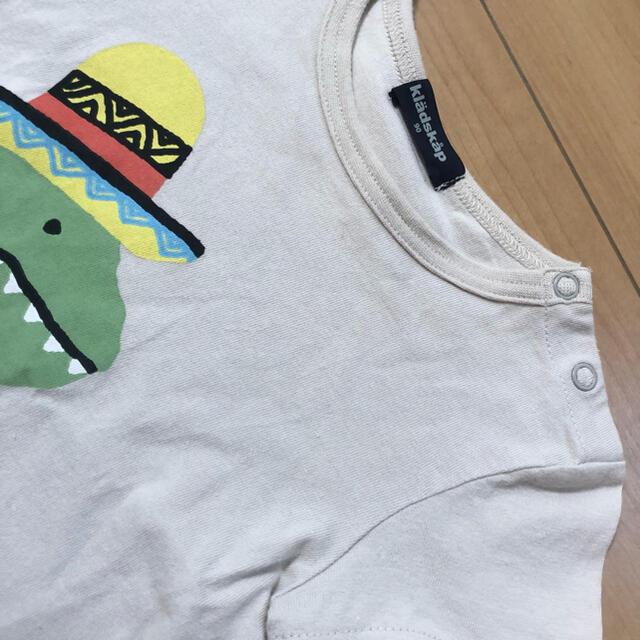 kladskap(クレードスコープ)のクレードスコープ 90cm 恐竜バック切り替えプリントTシャツ キッズ/ベビー/マタニティのキッズ服男の子用(90cm~)(Tシャツ/カットソー)の商品写真