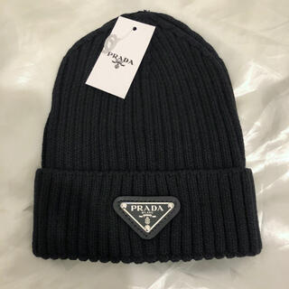 PRADA - PRADA プラダ ロゴ ニット帽  ビーニー 黒 ブラック 帽子