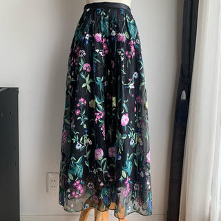 GRACE CONTINENTAL - グレースクラスGrace class 花柄刺繍マキシスカート チュールスカート