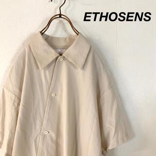【極美品】ETHOSENS エトセンス アシンメトリー シャツ ベージュ