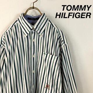 90's TOMMY HILFIGER マルチカラー ストライプシャツ