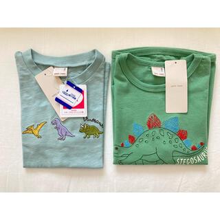 petit main - プティマイン 恐竜刺繍Tシャツ 110cm 2枚セット