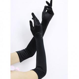 サテン ロンググローブ 黒 手袋 女性 プリンセス コスプレ ドレス パーティー