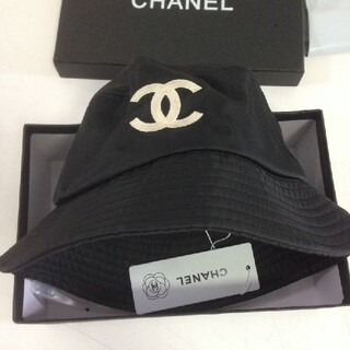 シャネル ロゴ バケットハット ブラック 黒 帽子