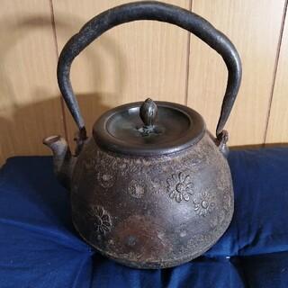 時代鉄瓶 晴寿堂造 茶道具 銀瓶(金属工芸)