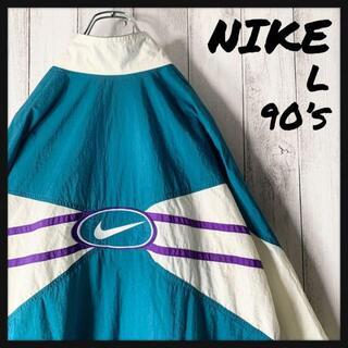 ナイキ(NIKE)の【白タグ L 90s】ナイキ NIKE 両面刺繍 ナイロン ジャケット 緑白紫(ナイロンジャケット)