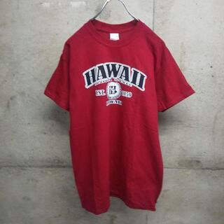 ギルタン(GILDAN)のHAWAII ハワイ ロゴ 赤 GILDAN / ギルダン Tシャツ M(Tシャツ/カットソー(半袖/袖なし))