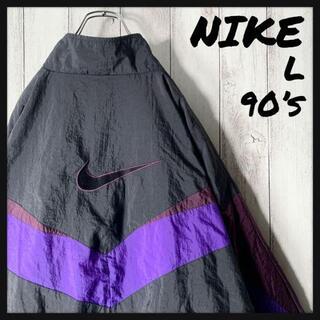 ナイキ(NIKE)の【美品 白タグ L 90s】ナイキ NIKE 両面刺繍ロゴ ナイロン ジャケット(ナイロンジャケット)