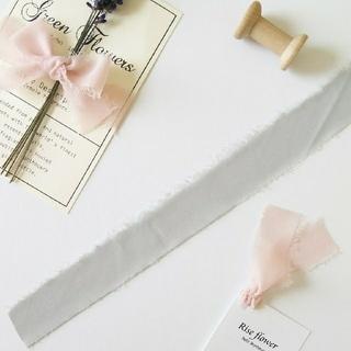 【切り売り】切りっぱなしが可愛い♡ シフォンリボン グリーンミスト 1m(生地/糸)