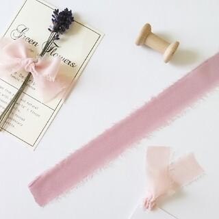 【切り売り】切りっぱなしが可愛い♡ シフォンリボン アッシュローズ 1m(生地/糸)