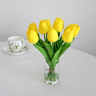 水やり不要 枯れないチューリップ花瓶付き 造花アレンジ イエロー(その他)