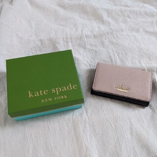 ケイトスペードニューヨーク(kate spade new york)の箱付き! kate spade バイカラー名刺入れ/カード入れ ピンク 黒(名刺入れ/定期入れ)