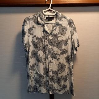 ZARA - お値引きZARA MENレーヨンアロハシャツ七分袖濃紺白M新品同様