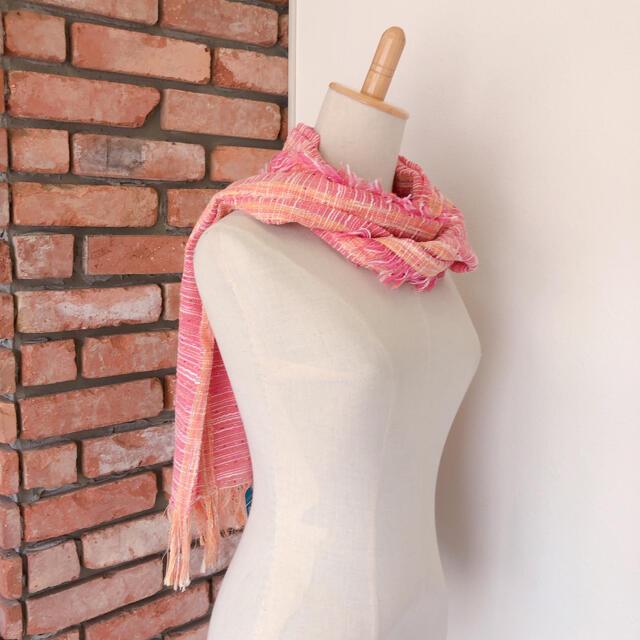 未使用 LANIFICIO ストール ショール 日除け 冷房対策 ピンク系 レディースのファッション小物(マフラー/ショール)の商品写真