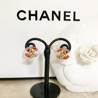 CHANEL - 正規品 シャネル ピアス ミニ ゴールド ココマーク マルチ ストーン ロゴ 2