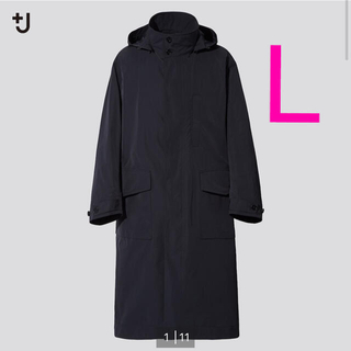 UNIQLO - ユニクロ +J オーバーサイズフーデッド ロングコート Black L 新品