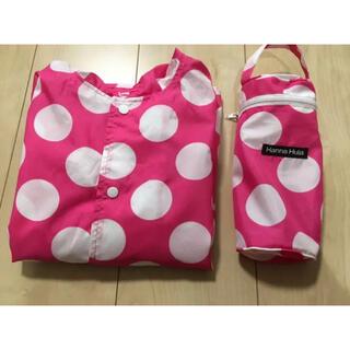 ミキハウス(mikihouse)のHanna Hula レインポンチョ 90 ドット柄 美品 ピンク レインコート(レインコート)
