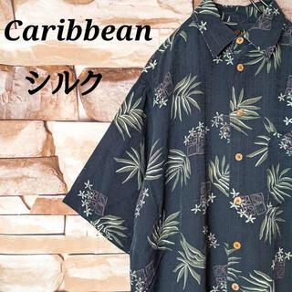 【希少】アロハシャツ リーフアラビアンデザイン 総柄 シルク パイナップル刺繍