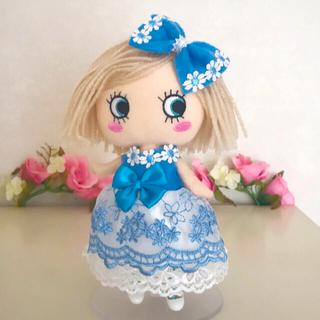 アタオ(ATAO)のイーマリー服 ブルーのドレス2点セット(ぬいぐるみ)
