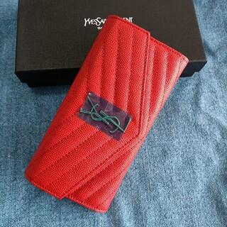 イヴサンローランボーテ(Yves Saint Laurent Beaute)のレッド♡人気品♡サンローラン 二つ折り長財布 名刺入れ(コインケース)