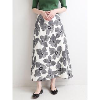 IENA - IENA モノトーンフラワー綿麻スカート 36 新品