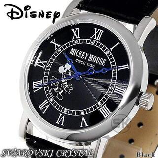 Disney - ディズニー ミッキーマウス 腕時計 メンズ レディース スワロフスキー レザー