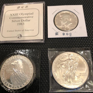 アメリカ銀貨 純銀イーグル銀貨1オンス ロサンゼルスオリンピック銀貨ハーフ銀貨(金属工芸)