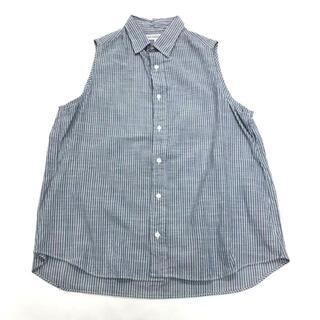 インディヴィジュアライズドシャツ(INDIVIDUALIZED SHIRTS)の美品 インディビジュアライズド シャツ ストライプ ノースリーブ シャツ 15(シャツ/ブラウス(半袖/袖なし))