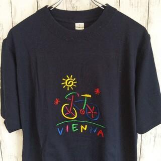 カラフル刺繍ロゴ 古着 Tシャツ 半袖 メンズ  ネイビー Mサイズ