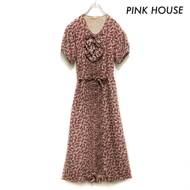 PINK HOUSE(ピンクハウス)のPINK HOUSE ピンクハウス★ペイズリー柄 半袖ワンピース ロング丈 レディースのワンピース(ロングワンピース/マキシワンピース)の商品写真