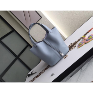 ★綺麗水色ブルーライン★ピコタンロックMM22★ハンドバックシルバー金具