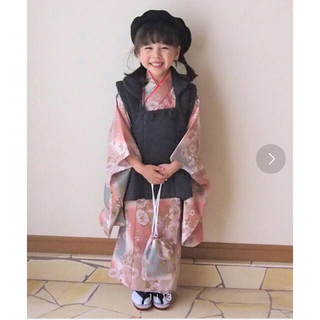 七五三 3歳用 被布コート 着物 3歳女の子 ひよこ商店 まだらピンクに小菊(和服/着物)