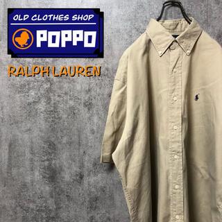 Ralph Lauren - ラルフローレン☆ワンポイント刺繍ロゴ半袖チノボタンダウンシャツ 90s