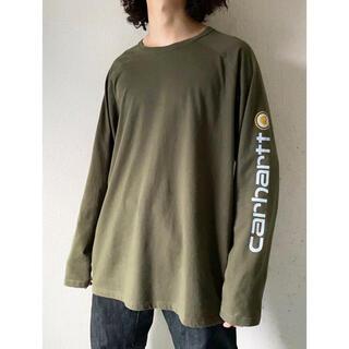 カーハート(carhartt)のvintage 90s carhartt 袖プリ カーキ 長袖 カットソー(Tシャツ/カットソー(七分/長袖))