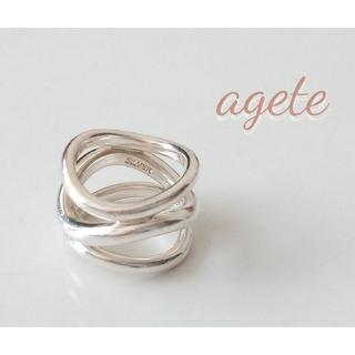 agete - agete アガット シルバーリング 3連 ウェーブ ボリューム