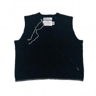 Blanket Embroidery Argyle Knit Vest
