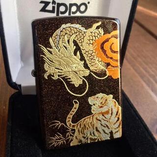 ジッポー(ZIPPO)の新品 Zippo 龍虎 梨地 本金蒔絵 和柄 ジッポー(タバコグッズ)