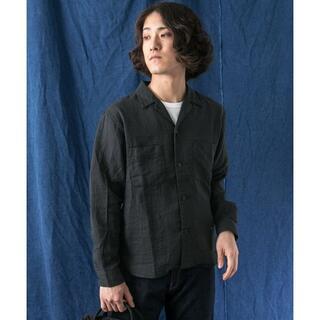 アーバンリサーチ(URBAN RESEARCH)の新品 WORK NOT WORK ダブルガーゼオープンカラーシャツ 黒(シャツ)