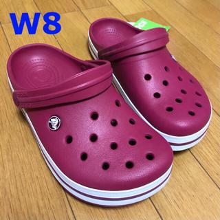 crocs - 新品 クロックス クロックバンド W8 ザクロ/ホワイト 24cm