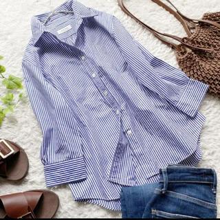 FRAMeWORK - フレームワーク ストライプ コットン シャツ ブルー 日本製 手洗い可