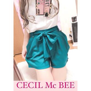 CECIL McBEE - 3415.CECIL Mc BEE ウエストリボン ハイウエスト ショートパンツ