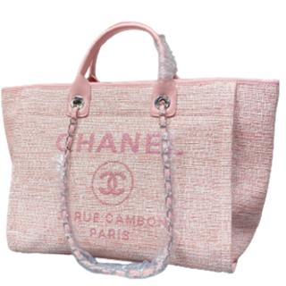 シャネル(CHANEL)のchanelシャネル ピンクキャンバスバッグ#18(トイレ収納)