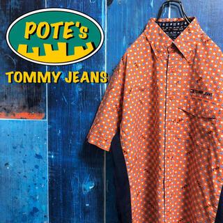 【トミージーンズ】フラッグ刺繍ロゴスタードット柄小紋柄半袖メッシュ切替総柄シャツ