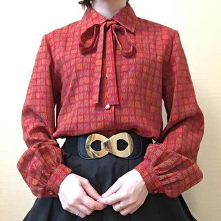 LAPINE - 赤 パターン柄 スクエア ボウタイブラウス レトロ アンティーク vintage
