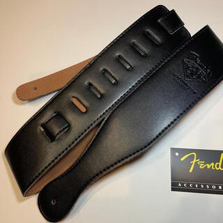 【新品】 Fender フェンダー ギター ストラップ レザー 黒 ブラック(エレキギター)