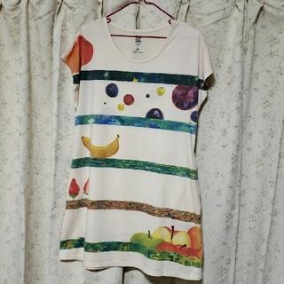Design Tshirts Store graniph - graniph はらぺこめがね Aライン半袖ワンピース フルーツボーダー