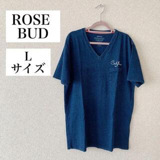 ローズバッド(ROSE BUD)のROSE BUD Tシャツ デニム ブルー Vネック Lサイズ 半袖 ロゴ(Tシャツ(半袖/袖なし))